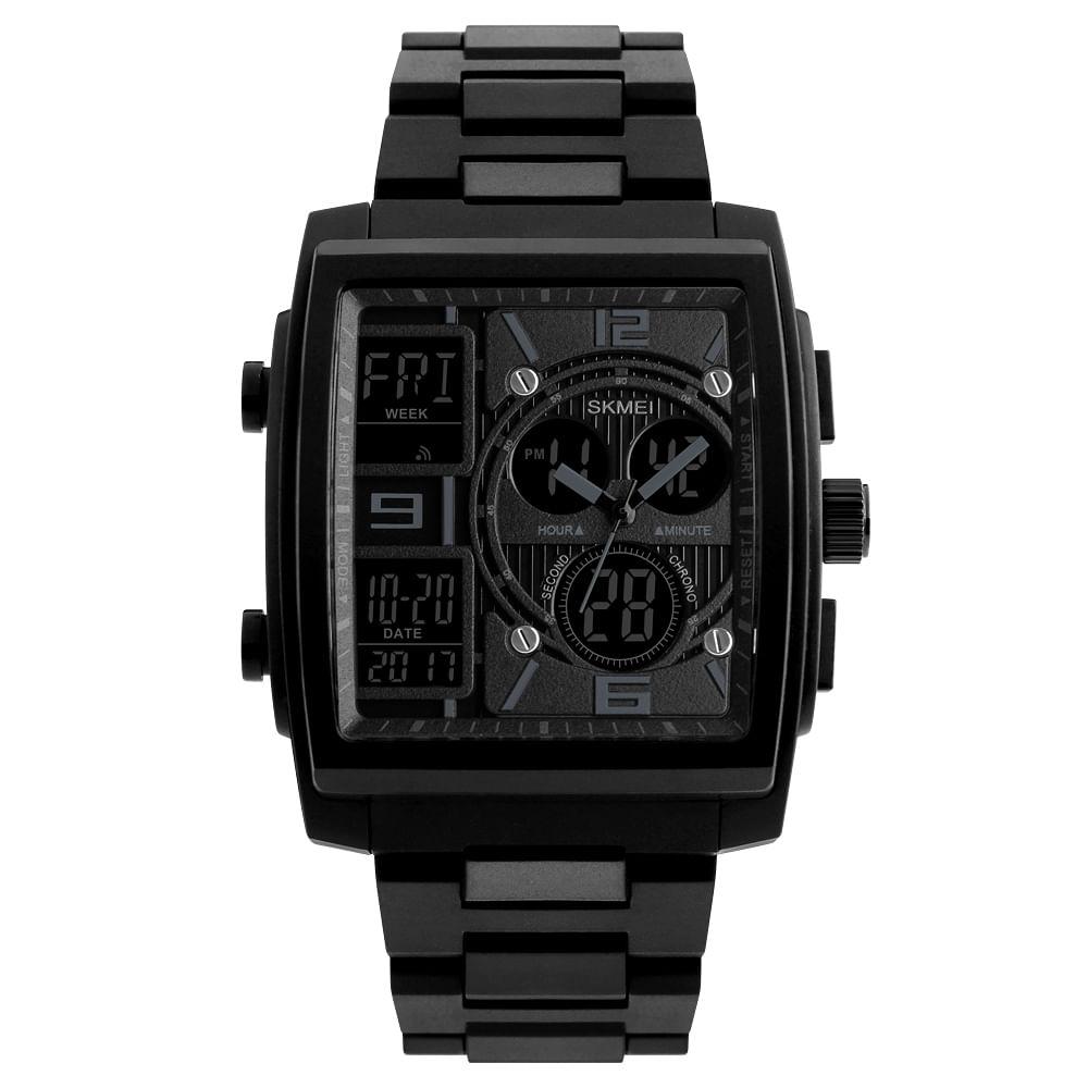 5e90950f426f Reloj Skmei Para Hombre Digital Análogo Cuadrado 1274 Negro - elektra