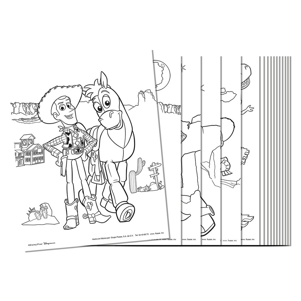 Hoja Para Colorear Flusse Kit De 4 Con 16 Piezas Cu Disney Toy Story