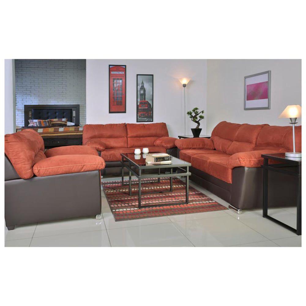 Sala viena 3 piezas caf naranja elektra online elektra for Salas modernas precios
