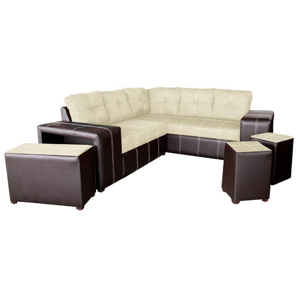 Sala modular c rdoba 5 piezas caf beige for Saga falabella muebles de sala ofertas