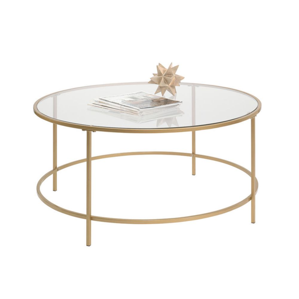 Buy Black Glass And Metal Circular Coffee Table From: Mesa De Centro Redonda Sauder Int Lux Dorado-Elektra.com