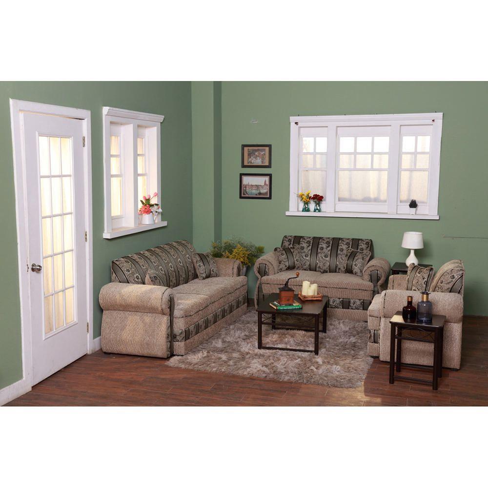 Sala nicole 3 pzs beige con verde elektra online elektra for Decorar casa con muebles verdes