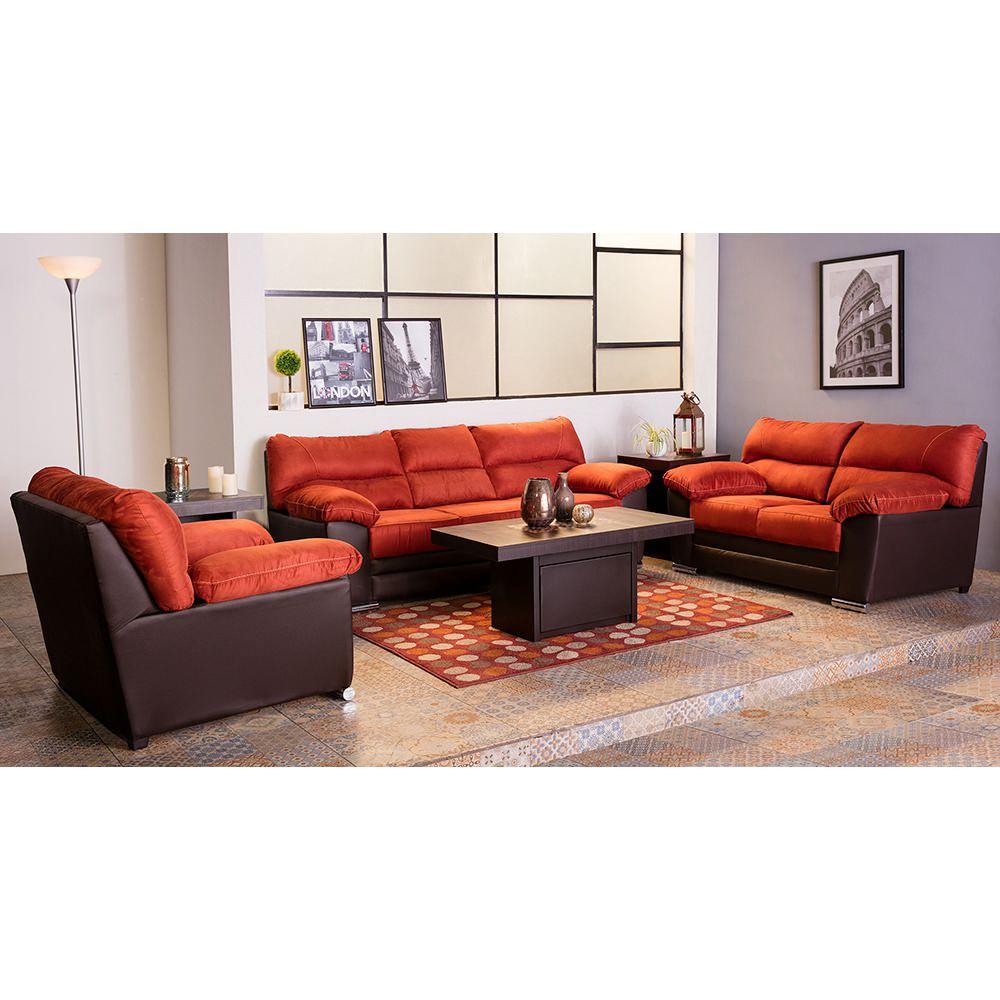 Sala viena 3 pzs naranja con chocolate elektra online for Muebles de sala 3 piezas