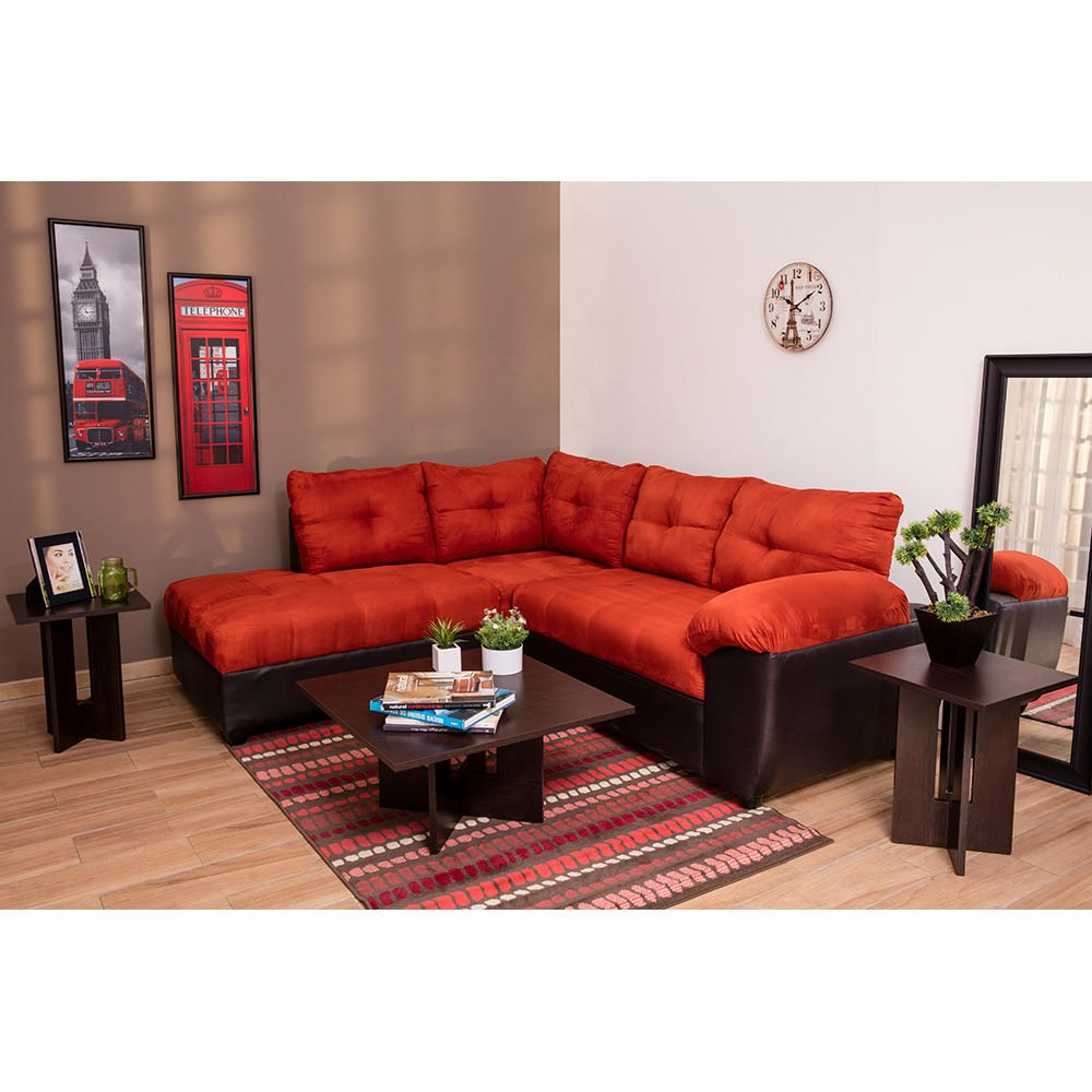 Sala esquinera satin 2 pzs naranja con chocolate elektra for Outlet muebles cancun