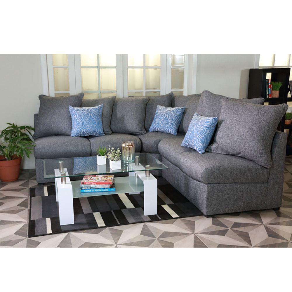 Sala esquinera grey gris elektra online elektra for Muebles de sala promart