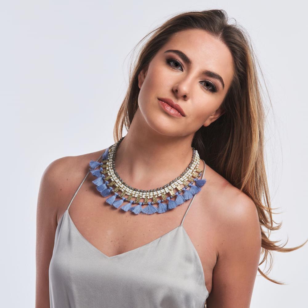 4ff02b5051c0 Collar Eliane - Oro con Azul - elektra