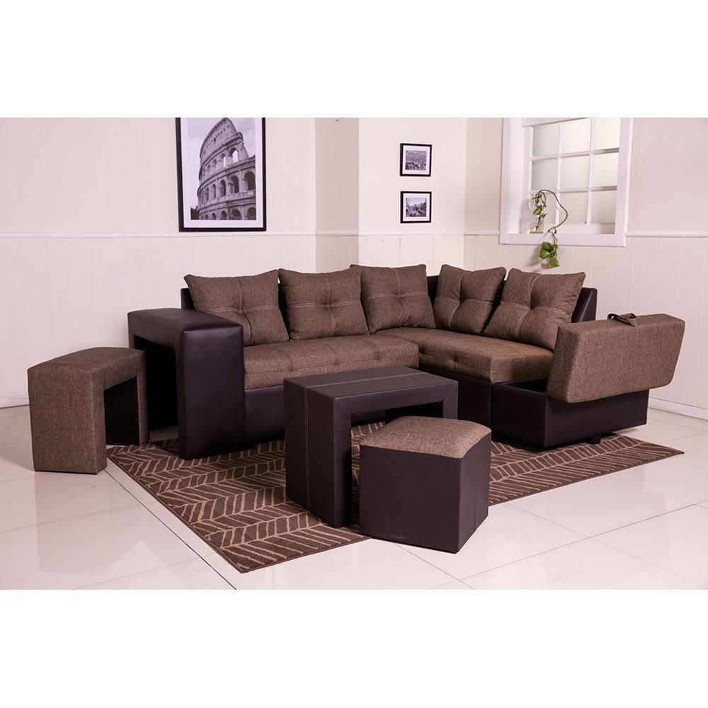 Sala esquinera sof a caf con chocolate elektra online for Saga falabella muebles de sala ofertas
